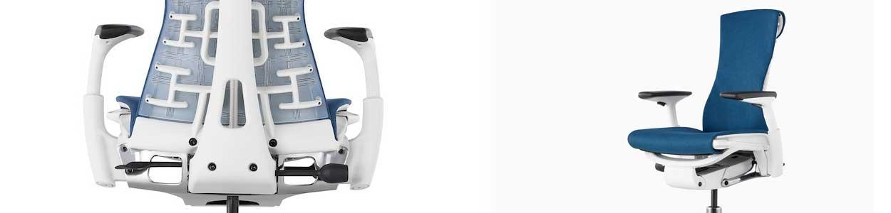Fauteuil de bureau ergonomique Embody bleu avec structure blanche.