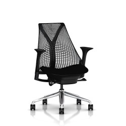 Fauteuil Sayl - Structure noire - Piétement Aluminium poli - Herman Miller