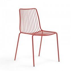 Nolita 3651 Pedrali chaise de terrasse 4 pieds en acier avec dossier haut