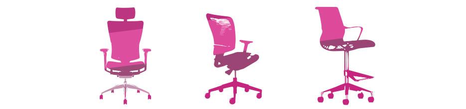 Trois sièges de bureau ergonomiques